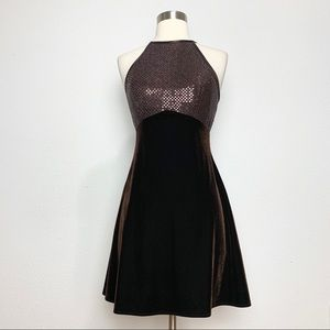 Vintage 90s Brown Velvet Skater Mini Dress XS